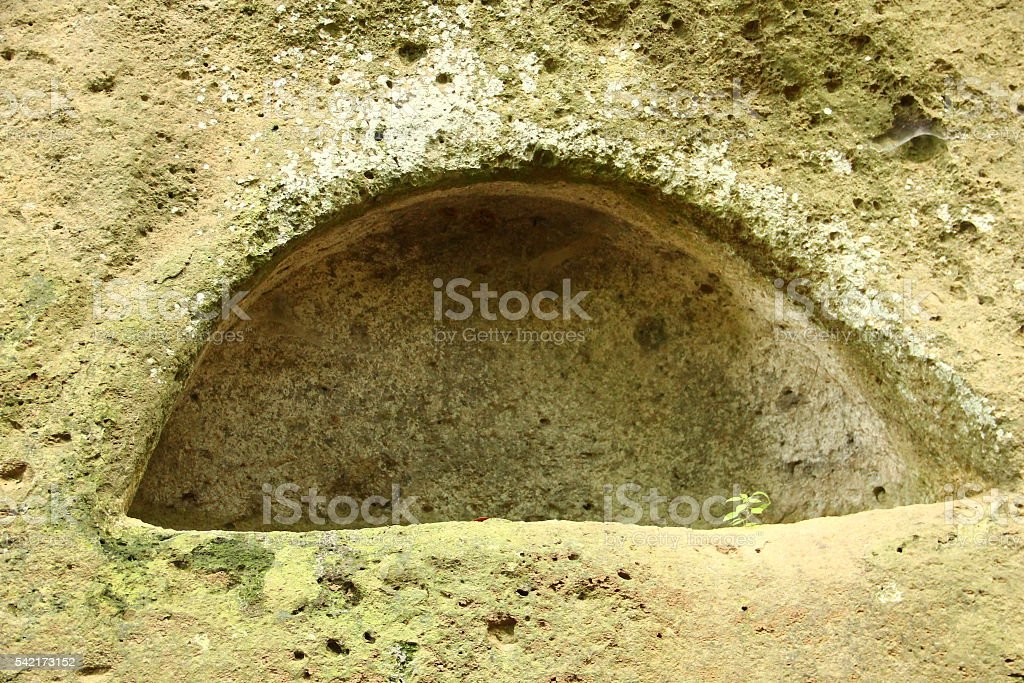 Blera, Italy. Tomb in the rock stock photo