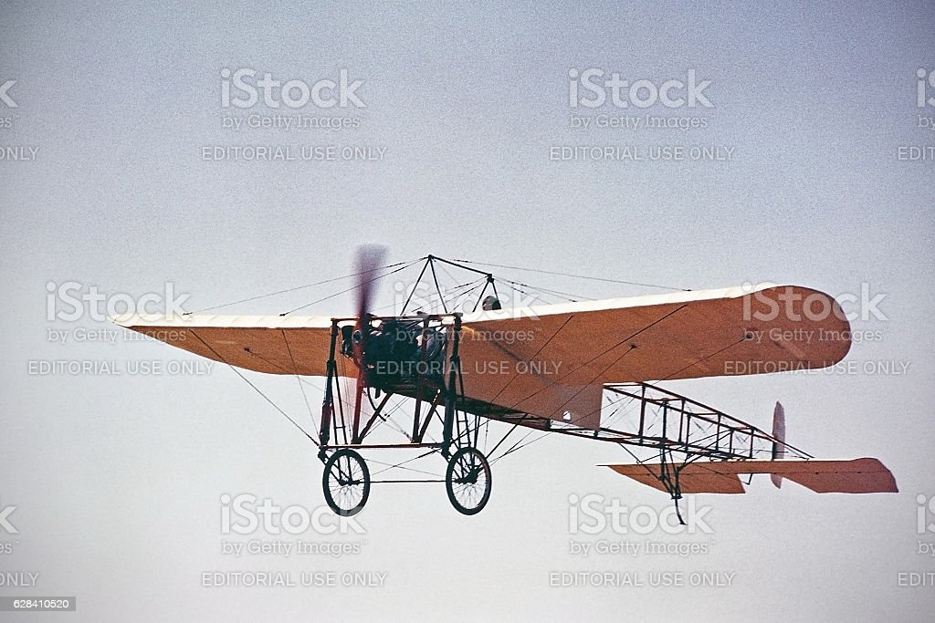 Bleriot XI 1909 airplane flying stock photo
