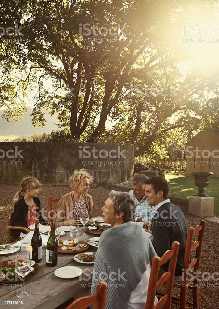 Bless the food before us, the family beside us stock photo
