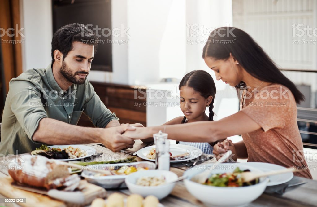Bless this food and our family stock photo