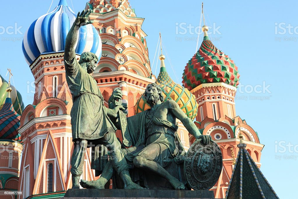 blessed basil cathedral and Statue of Minin and Pozharsky stock photo