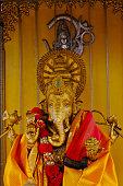 Blessed brass Ganesha close up