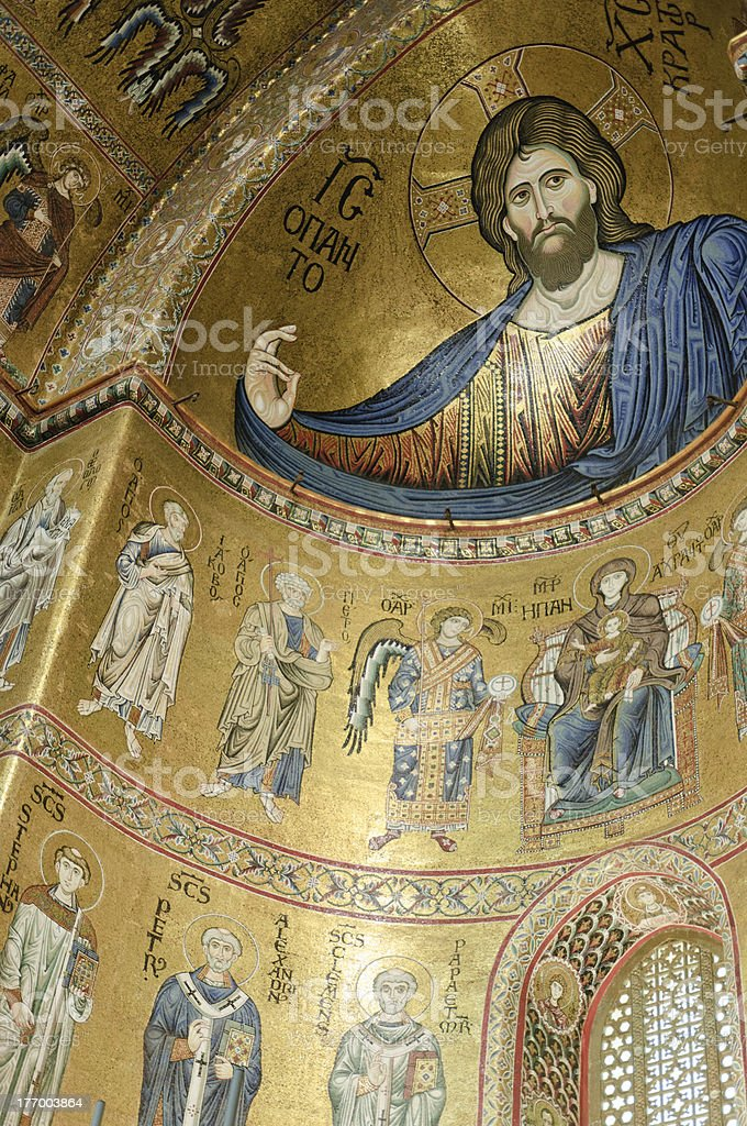 Blessing Christ,  Monreale Cathedral stock photo