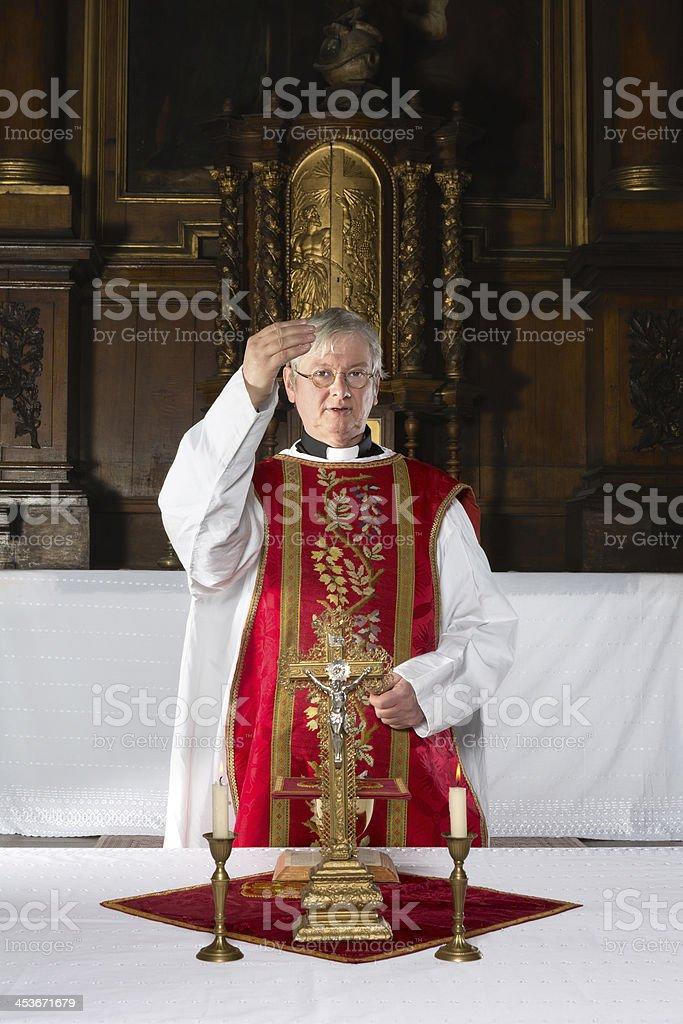 Blessing during catholic mass stock photo