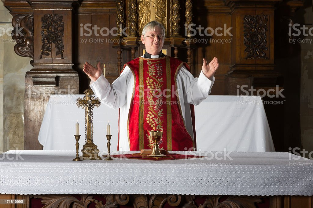 Blessing the chalice stock photo