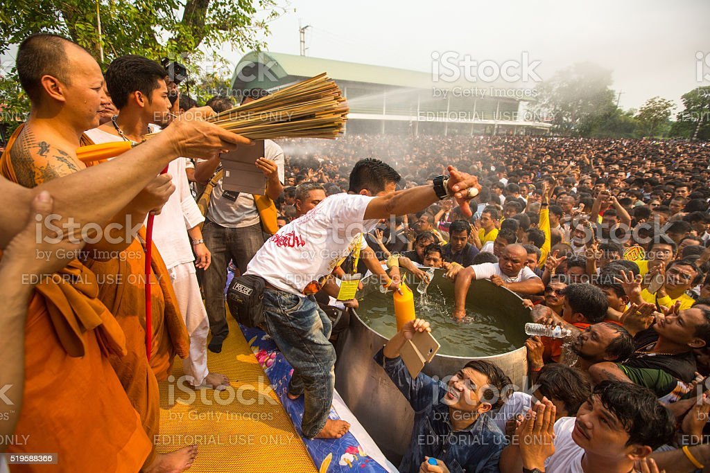 Blessing with Holy water of participants Wai Kroo ( stock photo