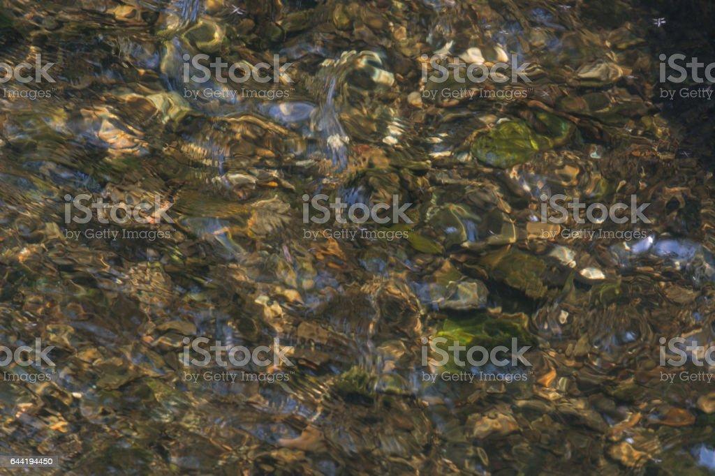 Blick auf den Grund eines Flusses stock photo