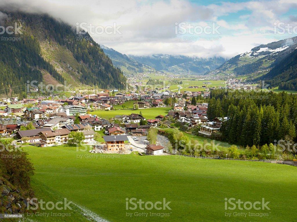 Blick auf Mayrhofen im Zillertal stock photo
