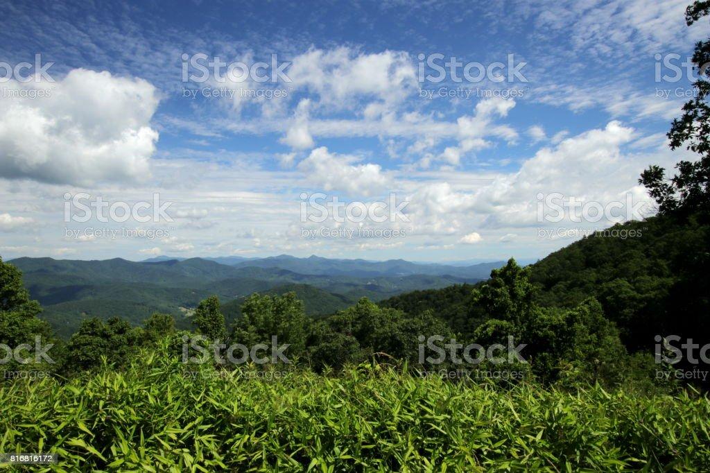 Blick über Hominy Valley am Blue Ridge Parkway stock photo