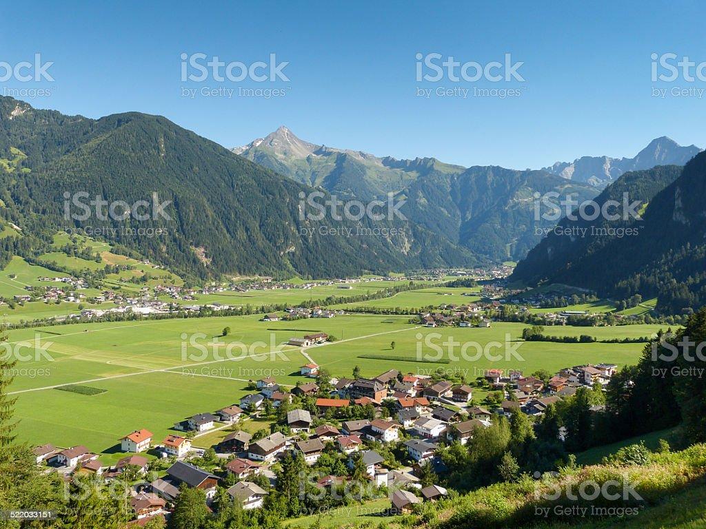 Blick ins Zillertal und auf Mayrhofen stock photo