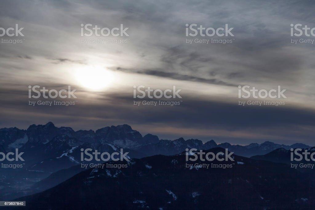 Blick vom Dobratsch bei Sonnenuntergang stock photo