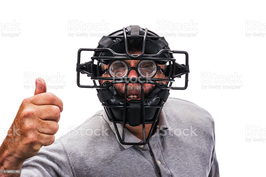 Blind Baseball or Softball Home Plate Umpire wearing eyeglasses stock photo