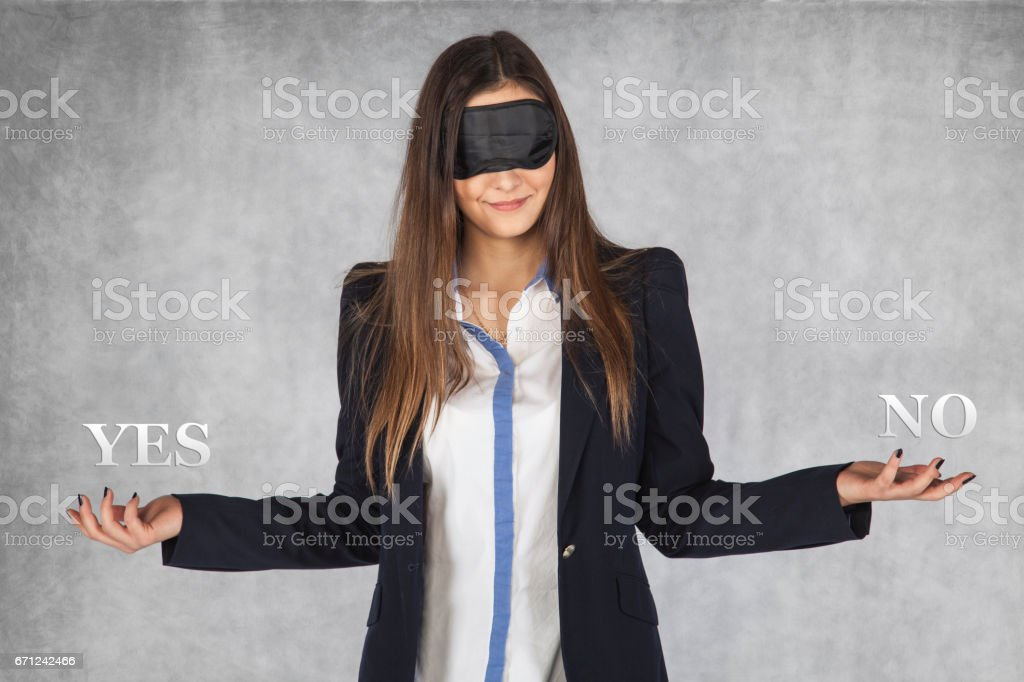 blind choice, yes or no stock photo