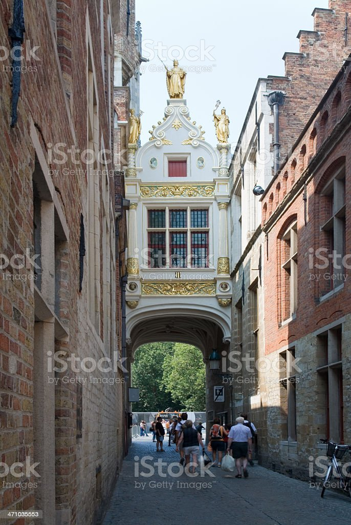 Blind donkey alley in Bruges royalty-free stock photo