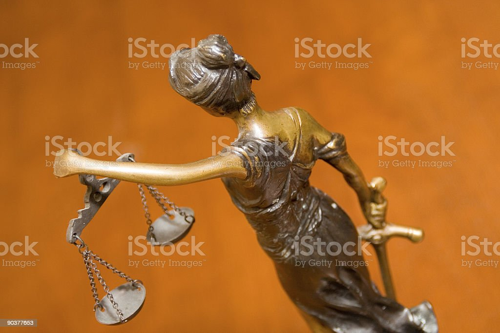 Blind Justice from Behind royalty-free stock photo