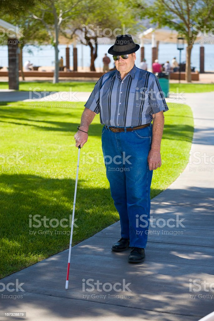 Blind Man and Cane royalty-free stock photo