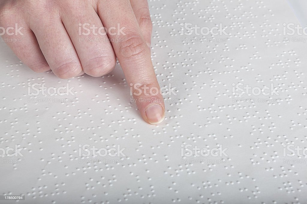 Blind reading text royalty-free stock photo