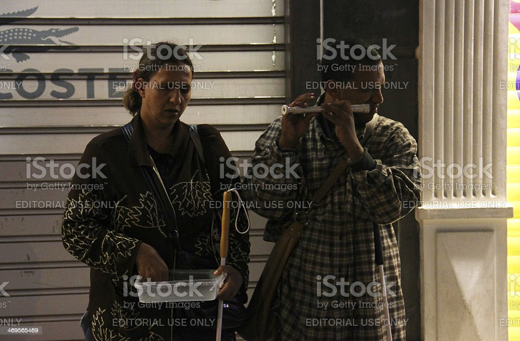 Blind Street Musician Playing stock photo