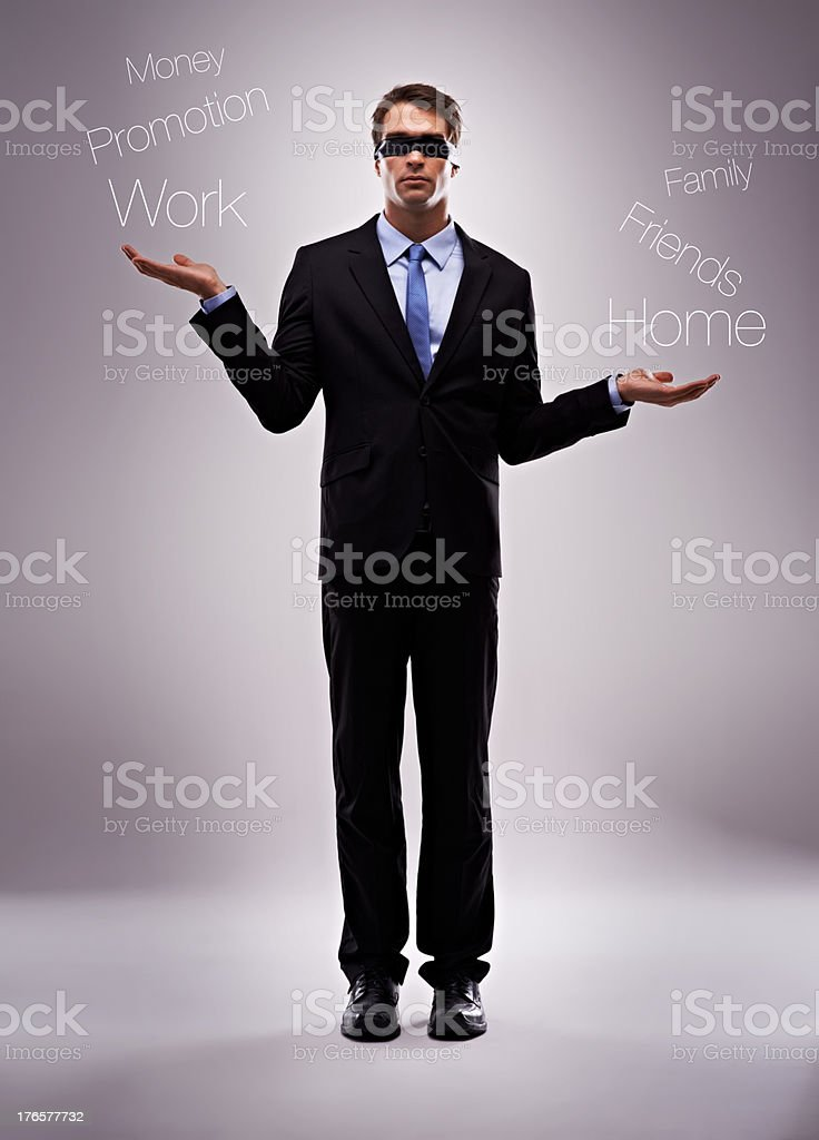 Blind to his unbalanced lifestyle stock photo