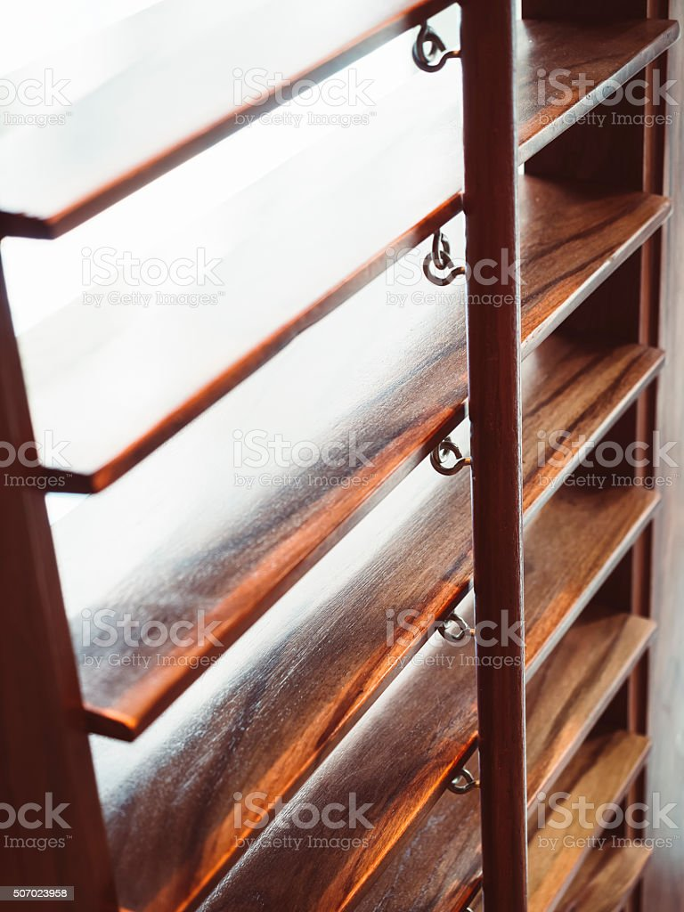 Blind window curtain Wooden texture close up stock photo
