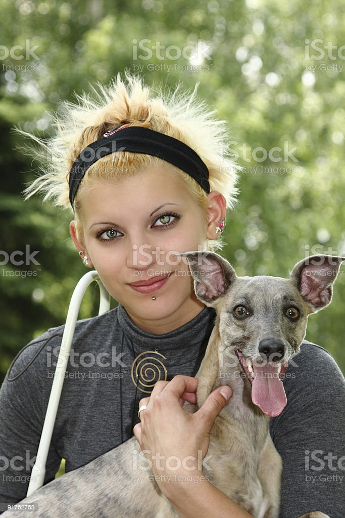 blind woman with her dog royalty-free stock photo