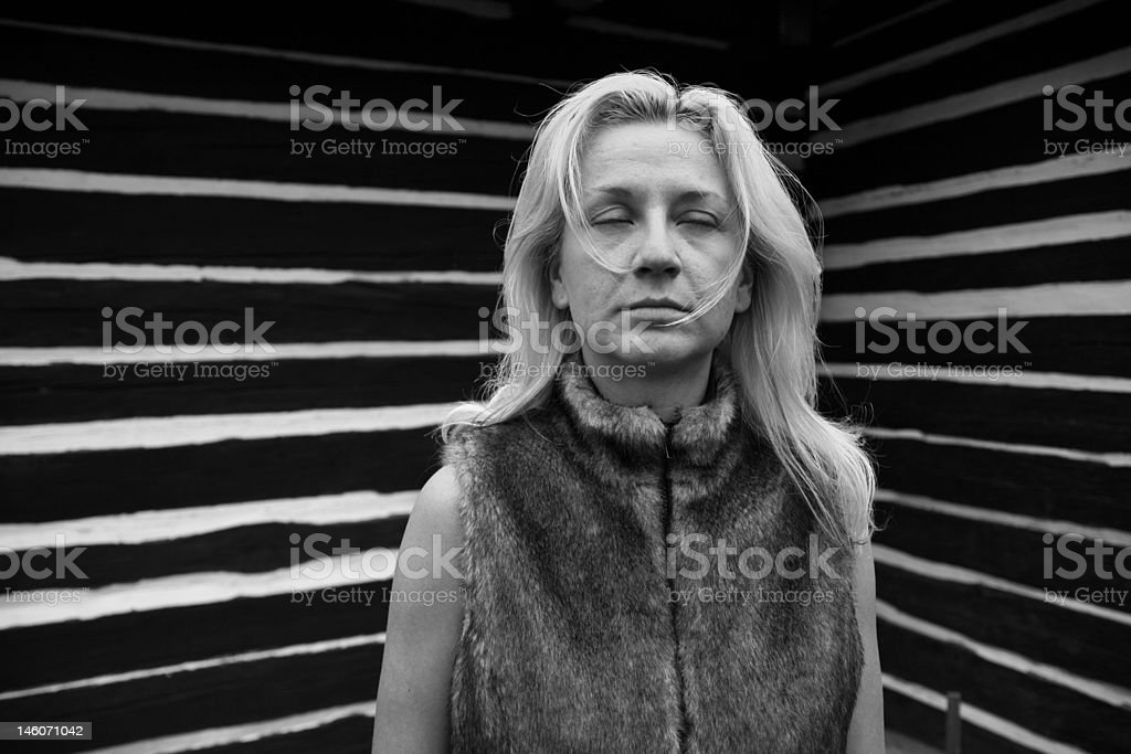 Blind Woman with Stripes royalty-free stock photo
