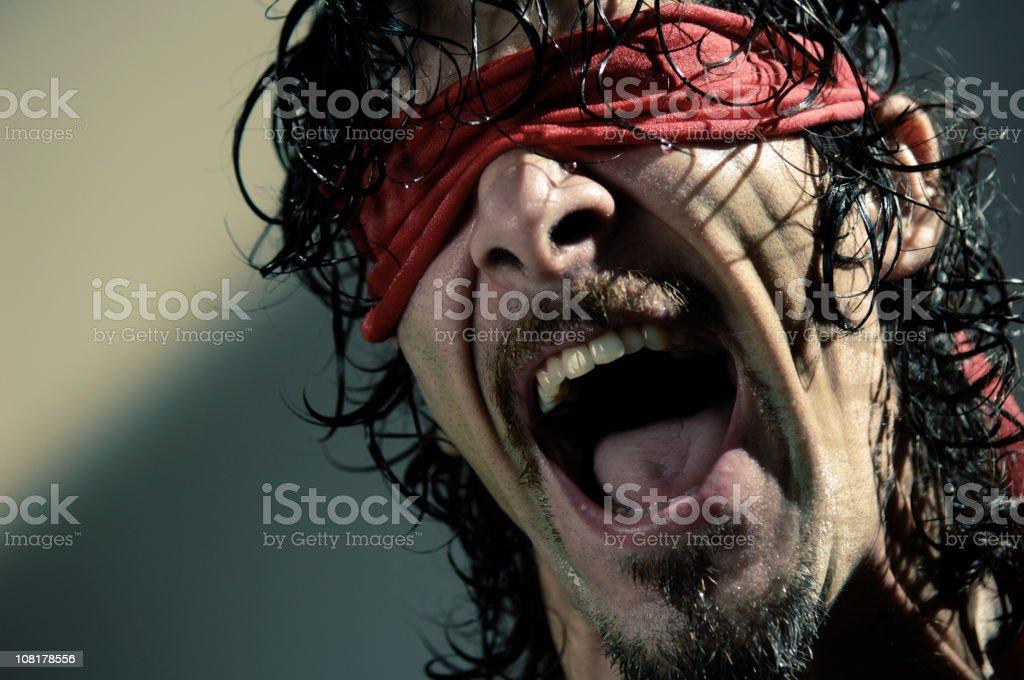 blindfold man series stock photo