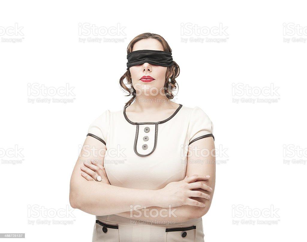 Blindfold plus size woman royalty-free stock photo