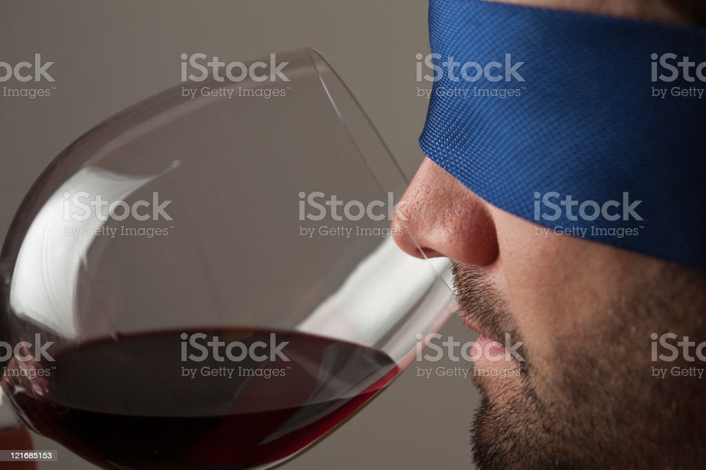 Blindfold wine tasting royalty-free stock photo