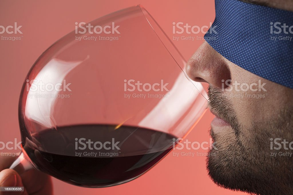 Blindfold wine tasting royalty-free stock photo