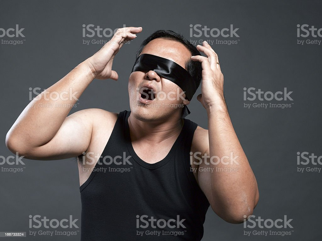 Blindfolded and frustrated royalty-free stock photo
