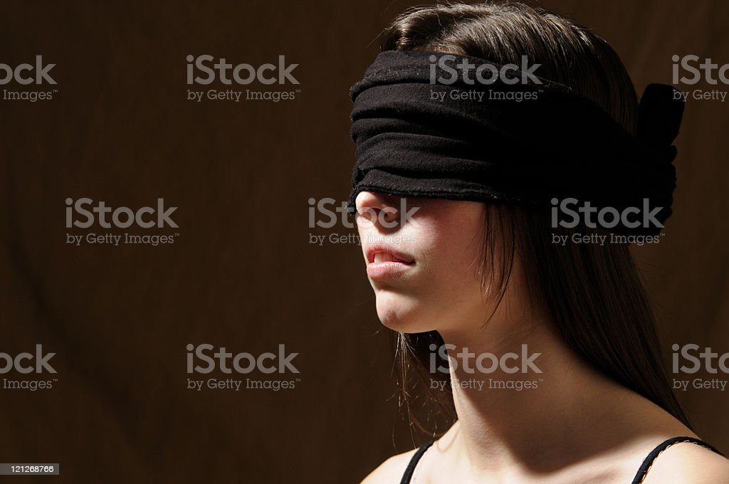 Blindfolded Brunette stock photo