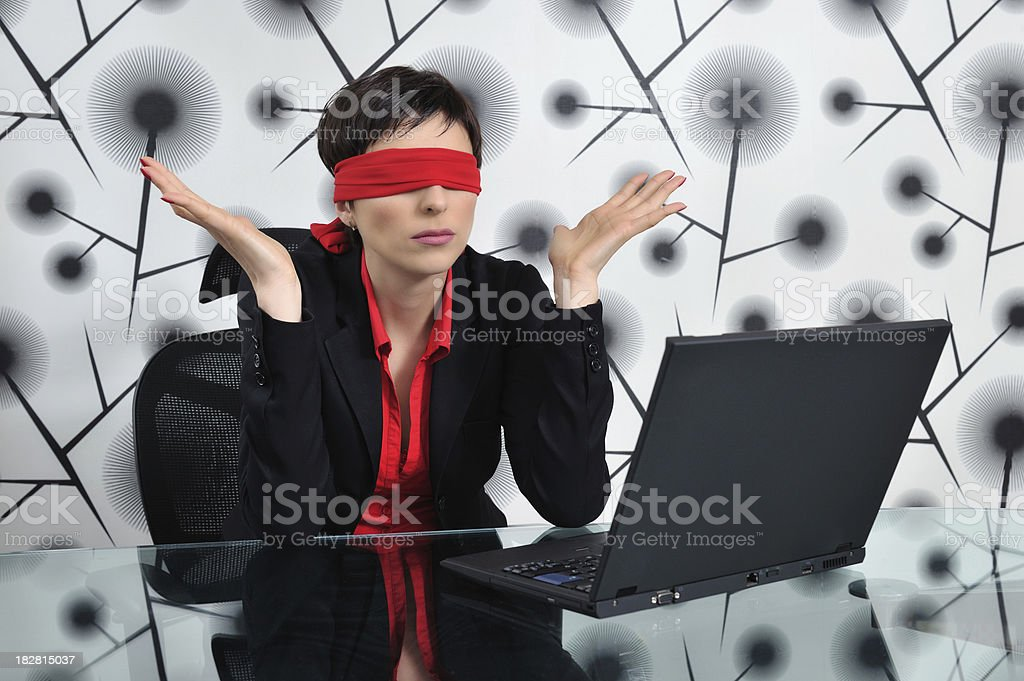 Blindfolded business woman royalty-free stock photo