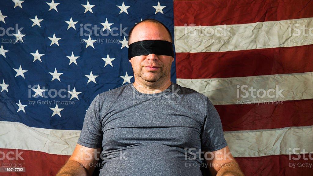 Bendato davanti con bandiera americana foto stock royalty-free