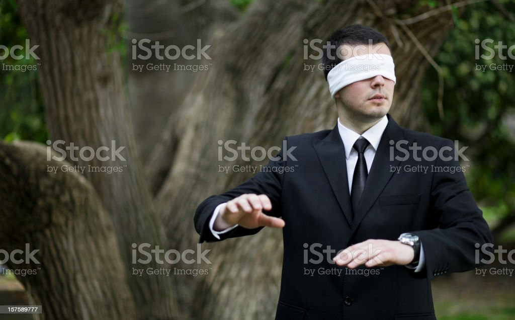 Blindfolded Lost Businessman royalty-free stock photo
