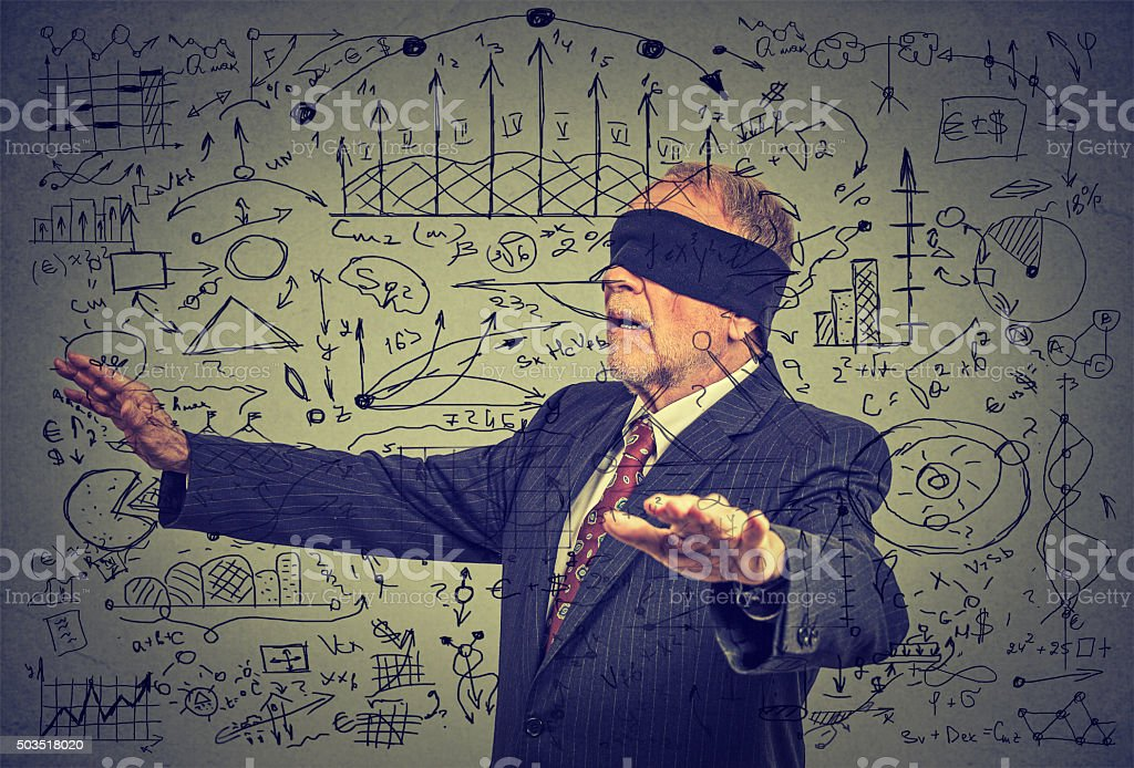 blindfolded senior business man walking through social media data stock photo