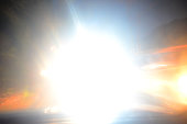 blindingly bright dazzling light beam