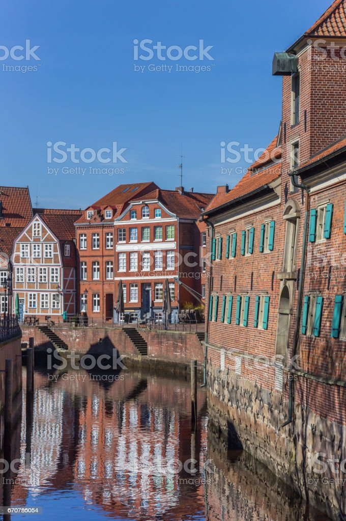 Blinds of the Schwedenspeicher building in the old harbor of Stade, Germany stock photo
