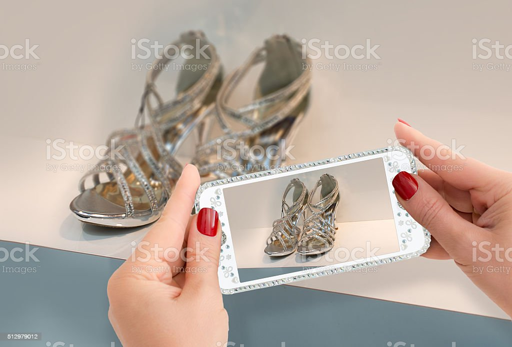 Bling Bling showrooming and  windowshopping stock photo