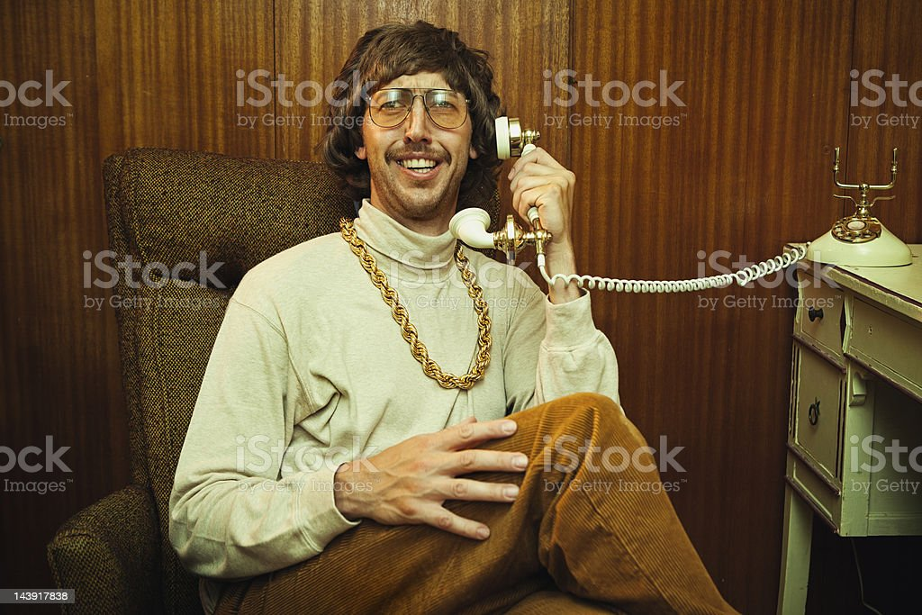 Bling Retro Mustache Man on Phone stock photo