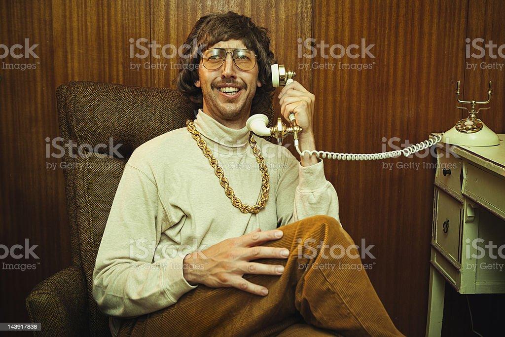 Bling Retro Mustache Man on Phone stock photo