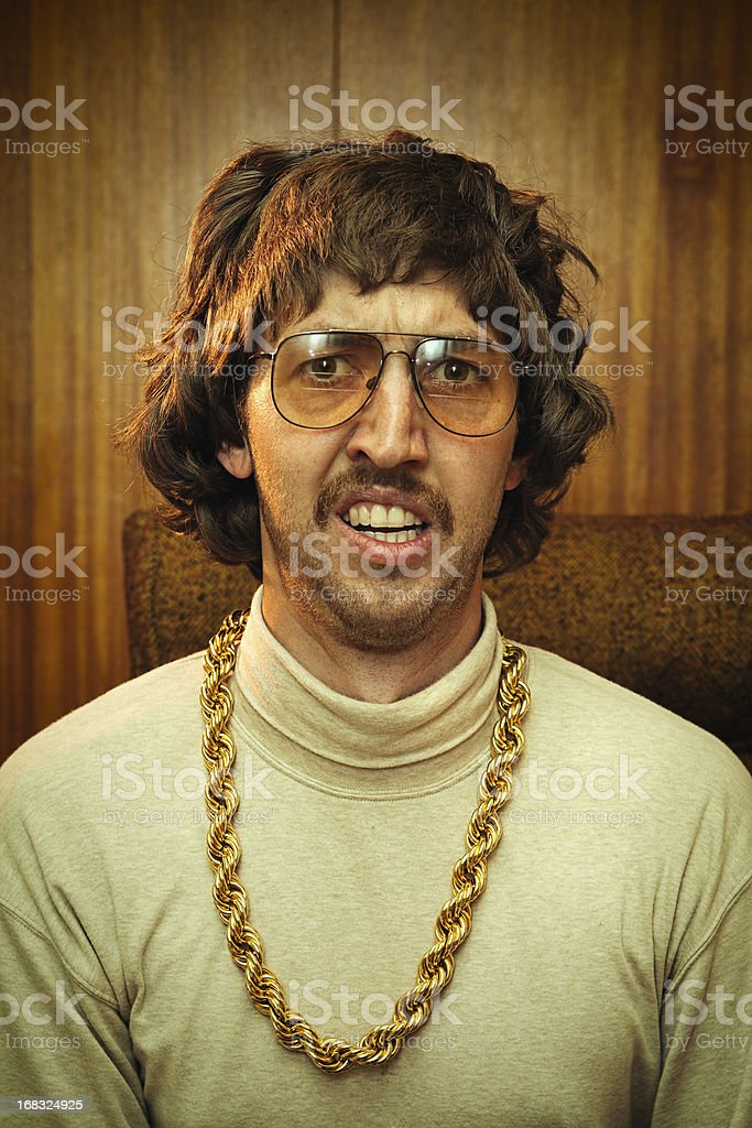 Bling Retro Mustache Man royalty-free stock photo