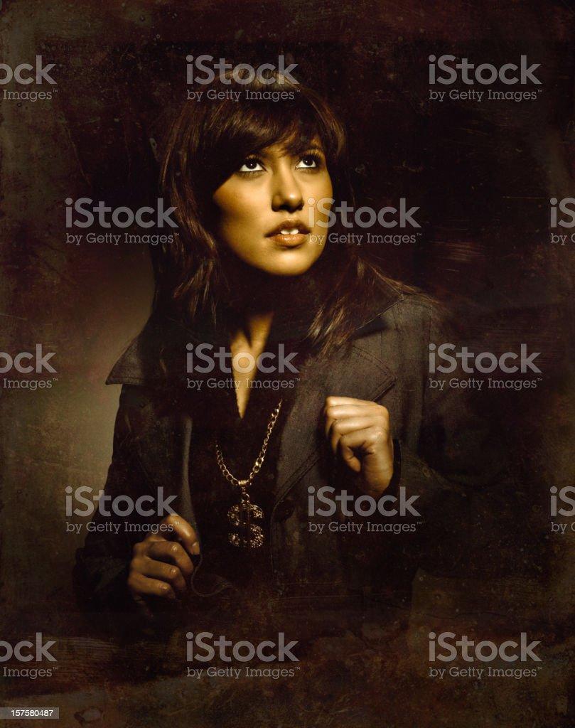 bling retro woman stock photo
