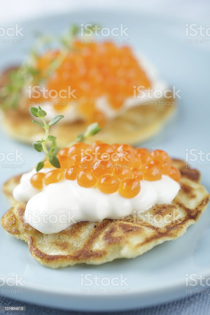 Blinis with red caviar royalty-free stock photo