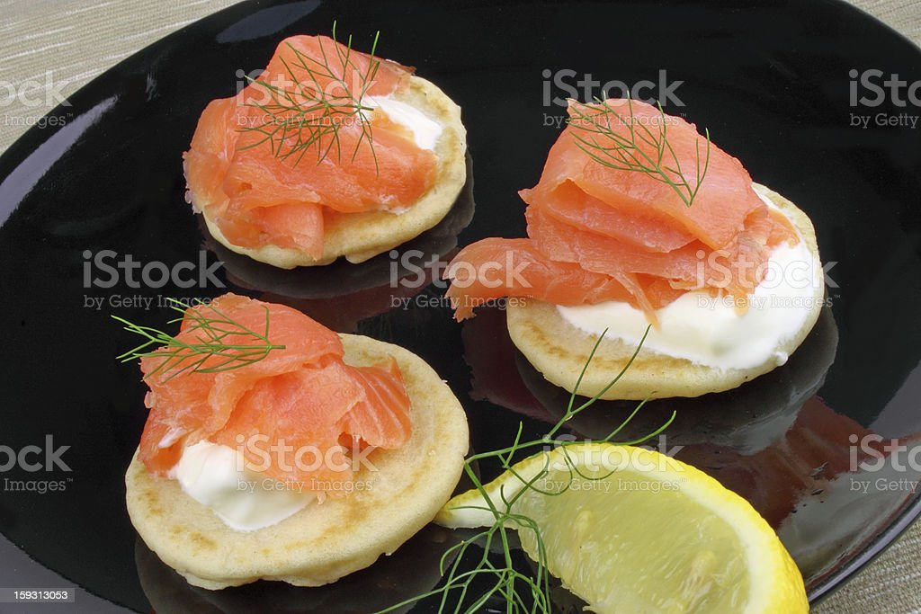 Blinis With Smoked Salmon royalty-free stock photo