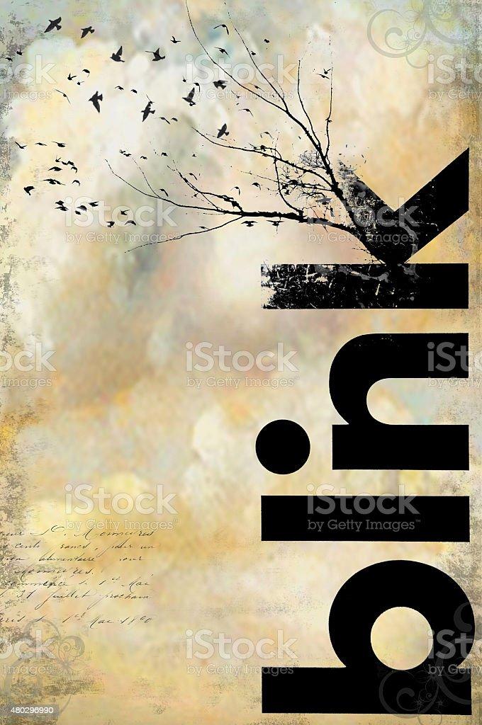 Blink Birds Typography stock photo
