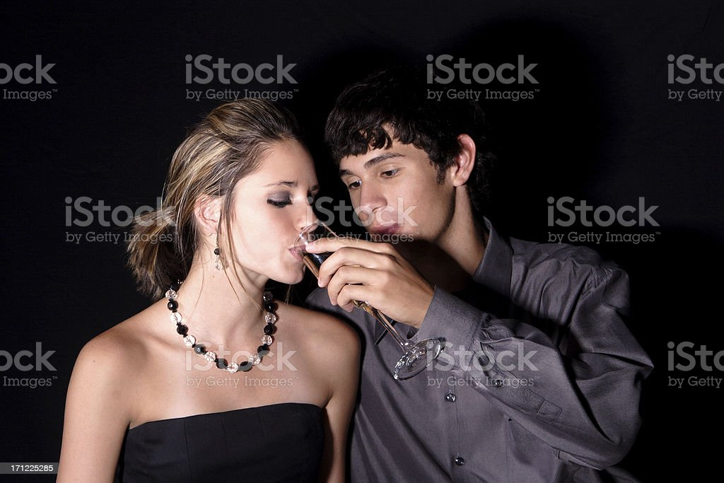 Bliss and Daniel: Sipping champagne. royalty-free stock photo