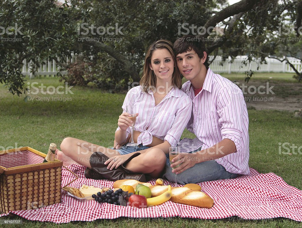 Bliss and Daniel: Summer picnic. royalty-free stock photo