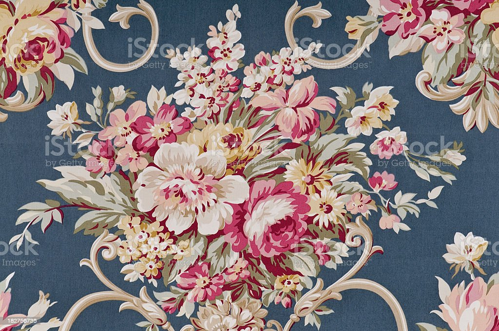 Bliss Bouquet Close Up Antique Floral Fabric stock photo