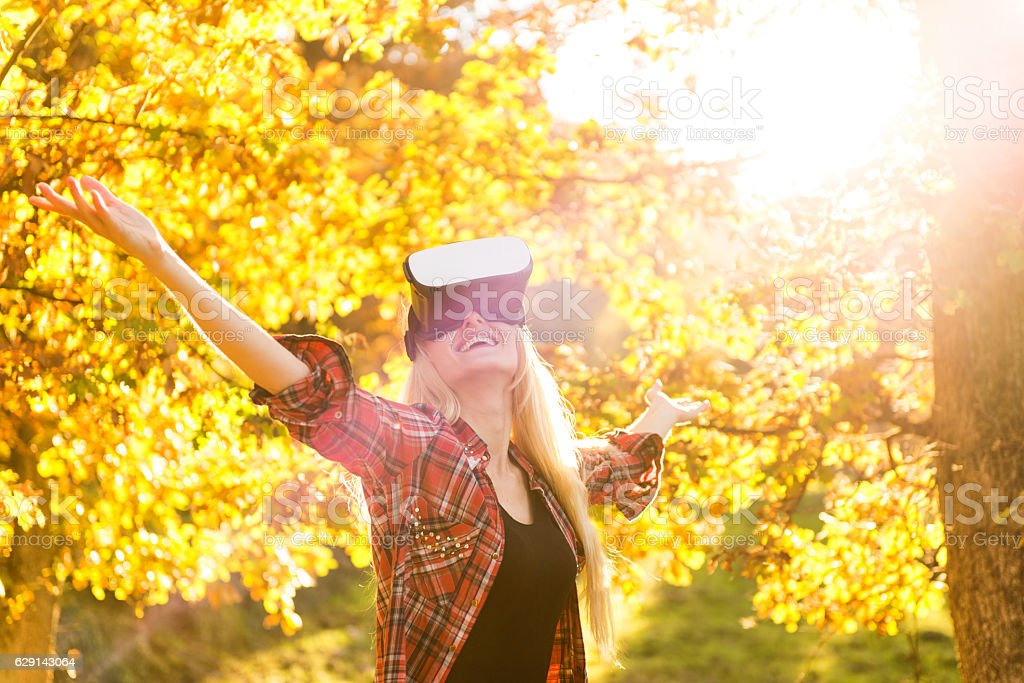 Bliss in virtual reality ! stock photo
